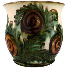 Kähler, Denmark, Large Glazed Stoneware Vase or Flower Pot Holder, 1920s