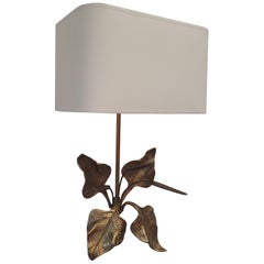 """French Maison Jansen Organic Full Brass and Textile """"Reeds"""" Wall Sconce, 1960s"""