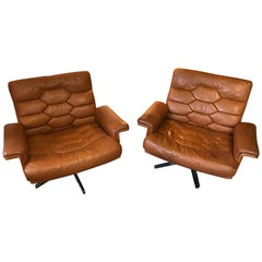 De Sede Ds 35 Swivel Lounge Armchairs by Robert Haussmann, 1970s