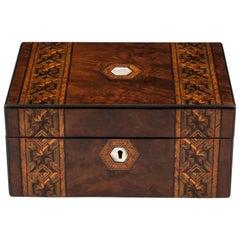 Antique Tunbridge Style Figured Burr Walnut Velvet Lined Jewelry Box