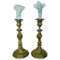 19th Century Rococo Style Fire-Gilded Candlesticks