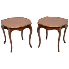 Pair of Antique French Parquetry Top Side Tables