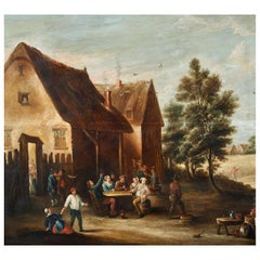 Peasant Party Flemish School 17th Century Oil on a Table Outdoor Scene Painting