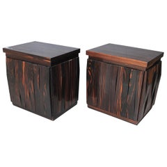 Frigerio Luciano Desio Two Bedside Barium Series in Solid Rosewood, Gold Label