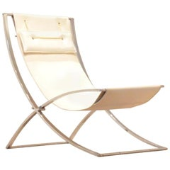 Italian Chrome and Skai Luisa Lounge Chair by Marcello Cuneo, 1970s