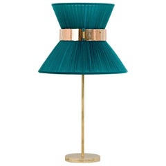 Tiffany Contemporary Table Lamp Emerald Silk Silvered Glass Brass Canopy