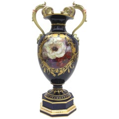 KPM, Berlin Porcelain Vase with Rich Weichmalerei and Gold Painting Cobalt Blue