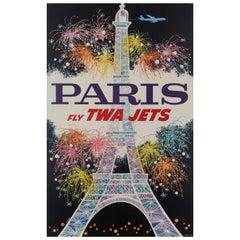 Paris Fly Twa Jets Poster by David Klein, 1962