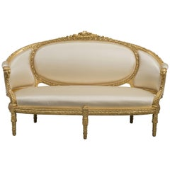 Fine Louis XVI Style Carved Giltwood Canapé, circa 1880