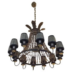 20th Century Italian 12 Lights Rust Iron Chandelier with Wooden Chains