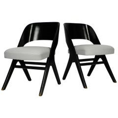 Pair of Original Mid-Century Modern Black and Grey Chair, Carl Sasse for Casala