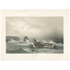 Antique Ship Print 'La Bellone' by Durand-Brager, circa 1850