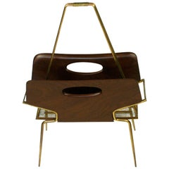 Italian Midcentury Mahogany and Brass Magazine Rack in the Style of Ico Parisi