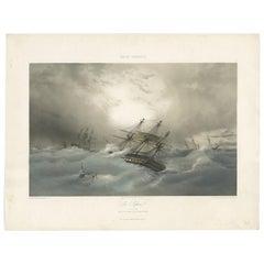 Antique Ship Print 'Le Sufren' by Durand-Brager, circa 1850