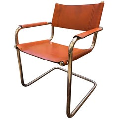 Vintage Tubular Bauhaus Design Cognac Original Leather Seat Chair, circa 1940