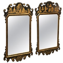 Pair of Elegant Black and Gold Chinoiserie Style Mirrors