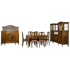 Art Nouveau Oak Dining Room Suite, circa 1910