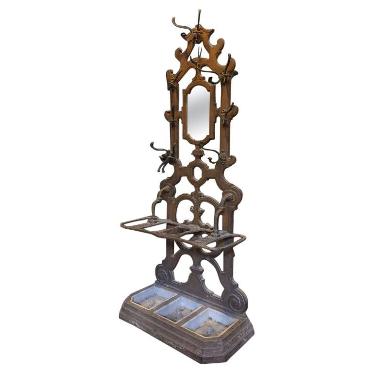 20th Century Cast Iron French Rack Stand for Coats Hats and Umbrellas