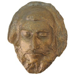 Classical Style Bronzed Plaster Face of a Wise Man