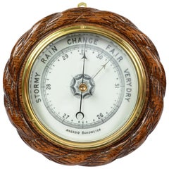 Barometer from the Late 1800s in Oakwood Carved like a Rope