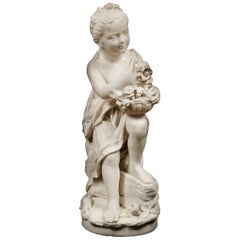 Carved White Marble Figure of a Flower Girl Signed to the Base 'Monti'