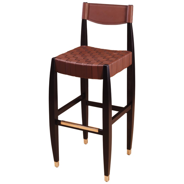 Gramercy Bar Stool with Wood Frame and Woven Leather Designed by Gregg Lipton
