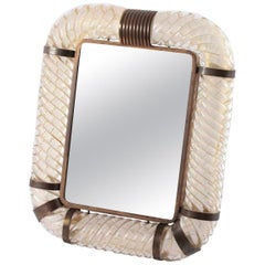 Signed Gold Dust Murano Table Mirror by Seguso