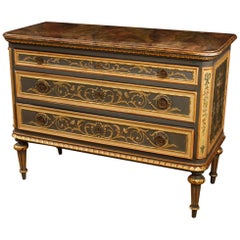 20th Century Lacquered, Gilt, Painted Wood Italian Louis XVI Style Dresser, 1950