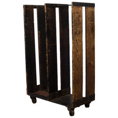 Pair of Early 20th Century Wood and Steel Factory Garment Rolling Racks