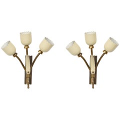 Pair of Applique in Brass and Italian Stilnovo Style Enamel, Three Lights Italy