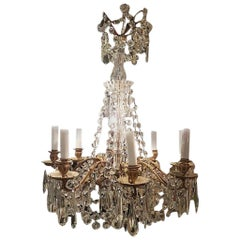 19th Century French Louis XVI Style Crystal Gilt Bronze Baguès Chandelier
