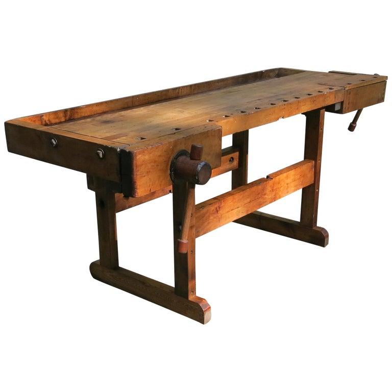 Antique Workbench Industrial Table Hammacher Schlemmer, circa 1900