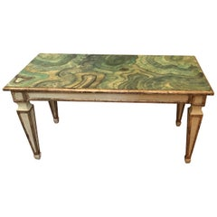 Chic Italian Hand-Painted Faux Malachite and Silver Gilt Coffee Table