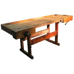 Antique Carpenters Workbench from Wissner Piano Factory Newark N.J., circa 1900