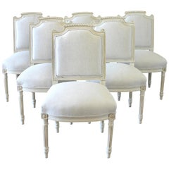 Set of 6 Painted and Upholstered French Louis XVI Style Dining Room Chairs