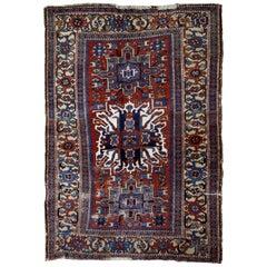 Handmade Antique Persian Heriz Distressed Rug, 1890s