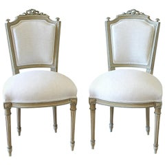 Early 20th Century Pair of Painted Louis XVI Vanity Chairs
