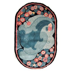 Handmade Antique Chinese Art Deco Rug, 1920s