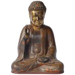 Large Asian Patinated and Gilt Buddha Sculpture