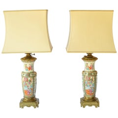 Pair of Antique Gilt Bronze Mounted Chinese Canton Porcelain Lamps, 19th Century