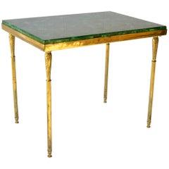 Vintage Metal Mounted Malachite Desktop Side Table