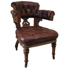 Oversized Oak and Leather Antique Desk Chair