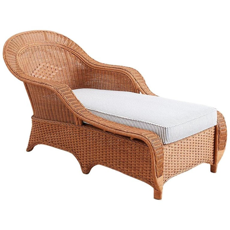 French Style Wicker Chaise Longue with Waverly Ticking Stripe Upholstery