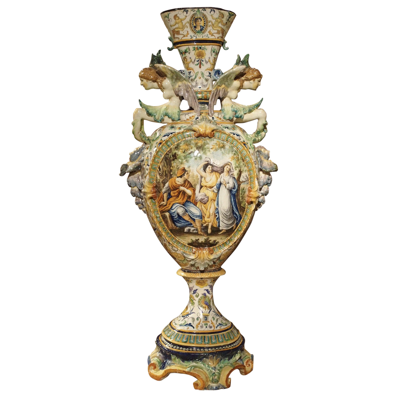 Tall Painted Italian Majolica Vase, circa 1860