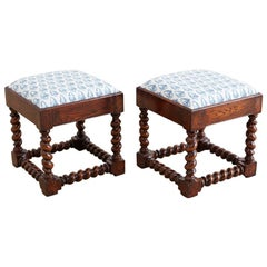 Pair of English Style Upholstered Oak Barley Twist Stools
