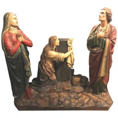 19th Century Polychrome and Paint Decorated Christmas Scene Three Figures