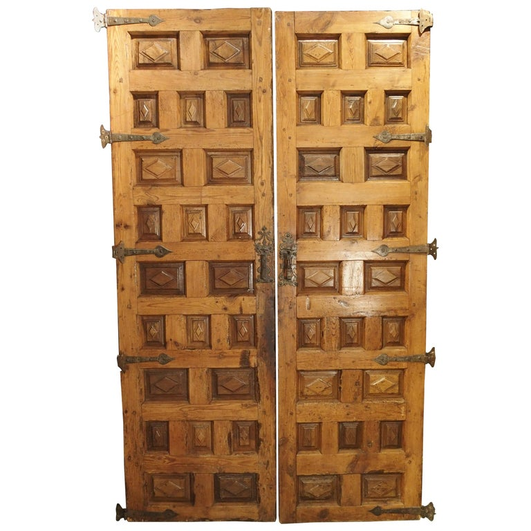 Pair of Walnut and Pine Doors from Spain, circa 1800