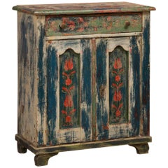 Antique Folk Art Painted Hungarian Sideboard Cabinet