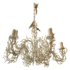 Truly Sensational Huge White Iron Faux Coral Two-Tier Chandelier