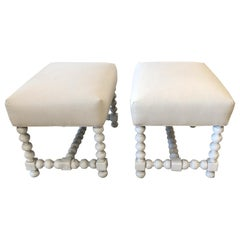 Stylish Pair of Painted Wood and Upholstered Benches Ottomans